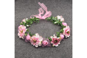 (Pink) - Artfen Bridal Flower Garland Headband Flower Crown Hair Wreath Halo Adjustable Ribbon Wedding Festivals Photography Pink