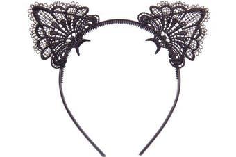 (1pcs Pure Black Lace Cat Ears Headband) - Bonnie Z. Leonardo Exquisite Sweet Lace Cat Ears Headband Black-Plastic