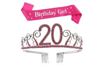 (Pink, 20th) - BUYITNOW Birthday Girl Sash and Tiara, Happy Birthday Party Supplies, Favours, Decorations 18th, 20th, 21th, 30th, 40th, 50th, 60th Birthday