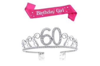 (Silver, 60th) - BUYITNOW Birthday Girl Sash and Tiara, Happy Birthday Party Supplies, Favours, Decorations 18th, 20th, 21th, 30th, 40th, 50th, 60th Birthday
