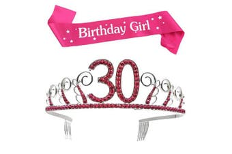 (Pink, 30th) - BUYITNOW Birthday Girl Sash and Tiara, Happy Birthday Party Supplies, Favours, Decorations 18th, 20th, 21th, 30th, 40th, 50th, 60th Birthday