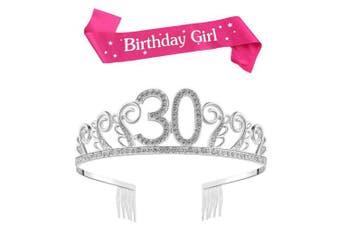 (Silver, 30th) - BUYITNOW Birthday Girl Sash and Tiara, Happy Birthday Party Supplies, Favours, Decorations 18th, 20th, 21th, 30th, 40th, 50th, 60th Birthday