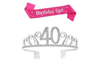 (Silver, 40th) - BUYITNOW Birthday Girl Sash and Tiara, Happy Birthday Party Supplies, Favours, Decorations 18th, 20th, 21th, 30th, 40th, 50th, 60th Birthday