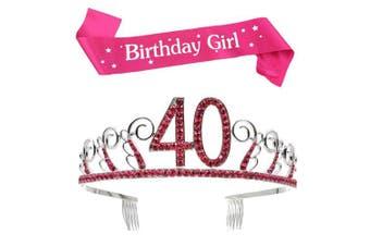 (Pink, 40th) - BUYITNOW Birthday Girl Sash and Tiara, Happy Birthday Party Supplies, Favours, Decorations 18th, 20th, 21th, 30th, 40th, 50th, 60th Birthday