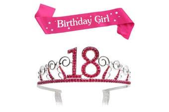 (Pink, 18th) - BUYITNOW Birthday Girl Sash and Tiara, Happy Birthday Party Supplies, Favours, Decorations 18th, 20th, 21th, 30th, 40th, 50th, 60th Birthday