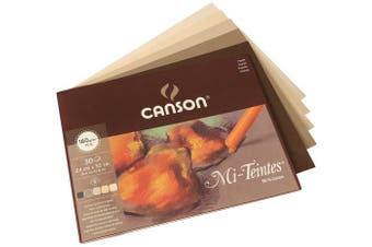 Canson Mi-Teintes 160gsm pastel paper pad, size: 24x32cm, includes 30 sheets of assorted Earth tones