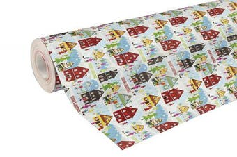 (Christmas Houses) - Clairefontaine 50 m x 0.70 m Christmas Alliance Long Roll Wrapping Paper, Christmas Houses