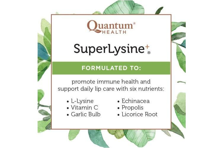 (180 Tablets) - Quantum Health Super Lysine+ / Advanced Formula Lysine+ Immune Support with Vitamin C, Echinacea, Licorice, Propolis, Odourless Garlic (180 Tablets)