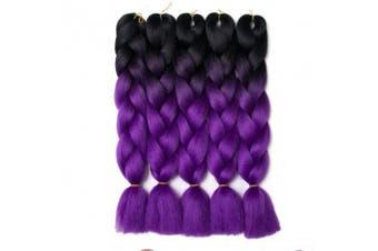 (Black- Royal Purple) - Lady Corner Ombre Braiding Hair 60cm Jumbo Braids High Temperature Fibre Synthetic Hair Extension 5pcs/Lot 100g/pc for Twist Braiding Hair (Black- Royal Purple)