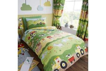 (Single) - Happy Linen Company Childrens Boys Girls Farm Animals Counting Sheep Green Yellow Reversible Single Bedding Duvet Cover Set