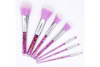 (purple) - Ranvi 7 PCS Fashion Crystal Glitter Diamond Makeup Brushes Set Foundation Cosmetic Brush Tools with Bag - Purple