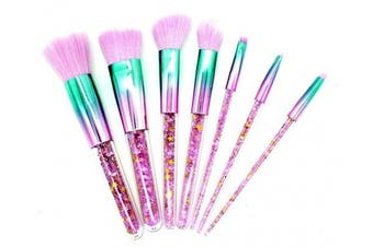 (Gradient) - Ranvi 7 PCS Fashion Crystal Glitter Diamond Makeup Brushes Set Foundation Cosmetic Brush Tools with Bag - Gradient