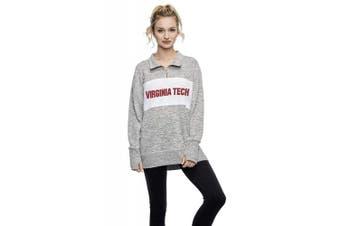 (Virginia Tech Hokies, Large, Heather Grey) - Chicka-D NCAA womens Cosy Fleece Quarter Zip Pullover