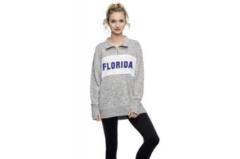(Florida Gators, Large, Heather Grey) - Chicka-D NCAA womens Cosy Fleece Quarter Zip Pullover