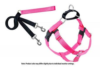 (XLarge, Hot Pink) - 2 Hounds Design Freedom No-Pull Dog Harness and Leash, Adjustable Comfortable Control for Dog Walking, Made in USA (2.5cm )