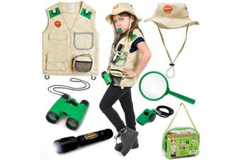 Born Toys Backyard Safari Vest and Costume with Explorer kit for Outdoor,Nature,Park Ranger,Palaeontology,Zoo Keeper, Halloween,Camping,Hiking, STEM and Scientific Dress up and Role Play