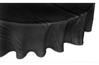 (180cm  Round, Black) - Broder Manufacturing Inc Satin Stripe Polyester Permanent Press Table Linens, 180cm Round Tablecloth, Black
