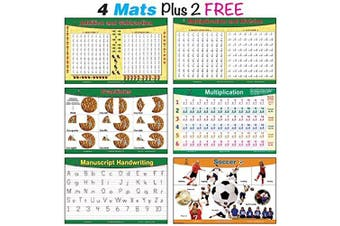 brainymats Educational Kids Placemats (Math) Includes 4 mats Plus 2 Free. This Bundle Includes Addition and Subtraction, Multiplication and Division, Fractions, Multiplication Practise Plus 2 Free