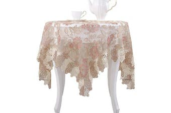 (150cm  x 210cm , Pink) - Lace Polyester Tablecloth Embroidery Rectangle Table Cloths for Party Wedding Kitchen Dining Home Decorations, 150cm x 210cm , Pink