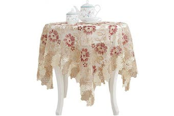 (Round - 120cm , Red) - Lace Polyester Round Tablecloth Embroidery Round Table Cloths for Party Wedding Kitchen Dining Home Decorations, Round - 120cm , Red