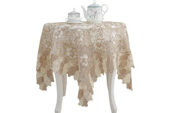 (90cm  x 90cm , Beige) - Lace Polyester Tablecloth Embroidery Square Table Cloths for Bedside Table Home Decorations, 90cm x 90cm , Beige
