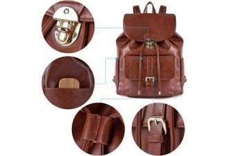 (Brown) - Women Backpack, COOFIT Leather Backpack Ladies Rucksack Drawstring Backpack School Bags Backpacks for Women Girls