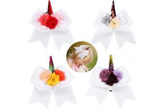 (4PCS White Cheer Bows) - 4 pcs Unicorn Cheer Hair Bows for Girls 18cm Big Boutique Bow Alligator Clips Grosgrain Ribbon Hair Accessories Teen Cheerleader Sports