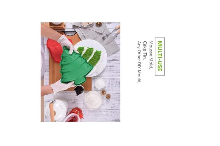 (Santa+Tree/L) - Large Christmas Mousse Cake Mould, 3D Silicone Baking Mould, Non-Stick Santa Claus and Christmas Tree Novelty Tin, 20 x 24.5 x 3 cm & 25 x 28 x 4.5 cm, Red & Green