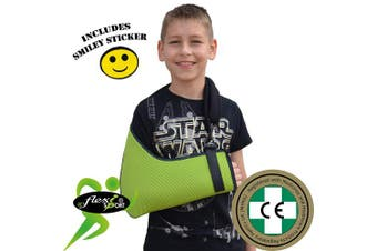 (4-5yr, Lime/Navy Trim) - CHILD Arm Sling EXTRA DEEP. Excellent arm and shoulder support, easy fit and sizing, light, airflow cooling, functional thumb loop, fully adjustable, reversible L/R arm. Includes SMILEY sticker. UNISEX. (4-5yr, Lime/Navy Trim)