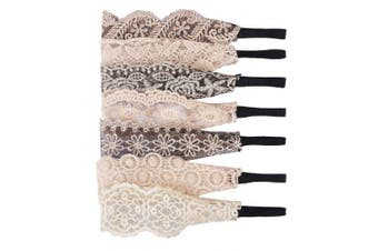 (LACE) - Candygirl 7 Pieces Lace Headbands For Women Girls Stretch Hairbands (LACE)