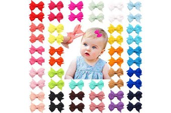 (20 pcs) - 50 Pieces 25 Colours in Pairs Baby Girls Fully Lined Hair Pins Tiny 5.1cm Hair Bows Alligator Clips for Little Girls Infants Toddlers