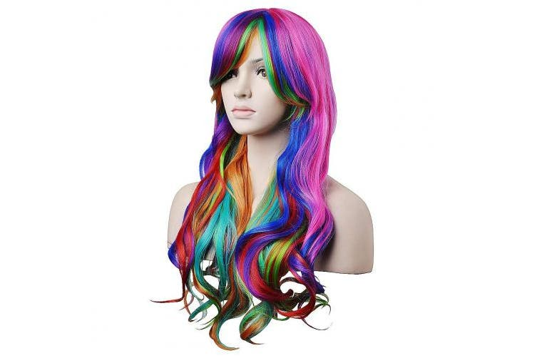 (Rainbow Wig+Gloves Socks Set) - 70cm Long and Wavy Rainbow Wig for Women Harajuku Style Costume Wigs with Colourful Stripe Long Knit Gloves Socks Set for Halloween Cosplay/Party Lolita (Rainbow Wig+Gloves Socks Set)