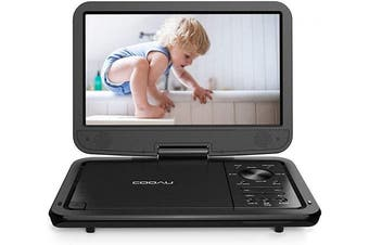 (Black) - COOAU 32cm Portable DVD Player, High-Brightness Swivel Screen, Supports All Region, AV-in/AV-out/SD/USB/CD/DVD, 5-Hours Rechargeable Battery, Remote Controller, Black