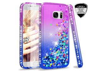 (Purple) - Samsung Galaxy S7 Case with Glass Screen Protector [2 pack], LeYi Glitter Liquid Cute Luxury Sparkly Flowing Quicksand Clear Transparent Diamond Fashion Personalised TPU Gel Silicone Bumper Shockproof Protective Phone Cover Cases for Samsung
