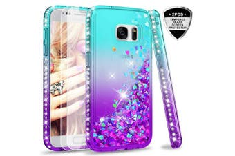 (Blue) - Samsung Galaxy S7 Case with Glass Screen Protector [2 pack], LeYi Glitter Liquid Cute Luxury Sparkly Flowing Quicksand Clear Transparent Diamond Fashion Personalised TPU Gel Silicone Bumper Shockproof Protective Phone Cover Cases for Samsung