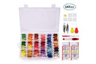 BASEIN Embroidery Thread with Organiser Storage Box, 108 Colours Friendship Bracelets Floss Crafts Floss with 39 Pcs Cross Stitch Kits Tools