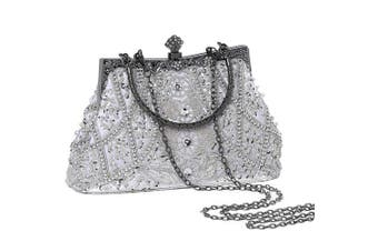 (White) - Coucoland Vintage Pearl Bag 1920s Flapper Clutch Handbag Glitter Sequin Clutch Bag for Women Roaring 20s Evening Clutch Beaded Bag Gatsby Costume Accessories Wedding Party