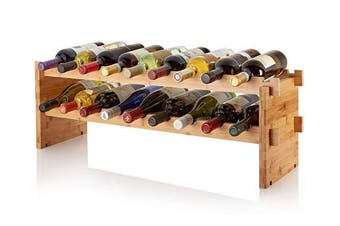 AdirHome Bamboo Wine Rack - Easy to Assemble 18 Stackable Bottle Storage Shelves Stand Display for Bar, Tabletop, Kitchen Counter