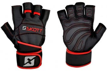 (Large) - skott 2018 Predator Evo 2 Weight Lifting Gloves - Real Leather - Double Wrist Wrap Support - Double Stitching for Extra Durability - The Best Body Building Fitness and Exercise Accessories