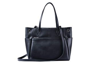 (Black) - Tote Bag AUGSOPA Women`s Fashion Business Durable Functional PU Synthetic Leather Large Roomy Carryall with Zipper Closure Trolley Luggage Sleeve 13 34cm Laptop Compartment (Black)
