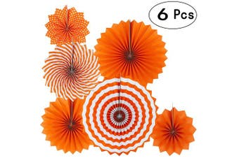 (Paperfan-orange) - Orange Fall Party Hanging Paper Fans Party Ceiling Hangings Thanksgiving Wedding Engagement Bridal Shower Baby Shower Birthday Party Decorations, 6pc
