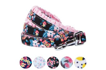 (1.5m * 1.6cm , Sleek Black with Lace) - Blueberry Pet Spring Made Well Floral Dog Collars, Harnesses, Leashes, Dresses or Toys