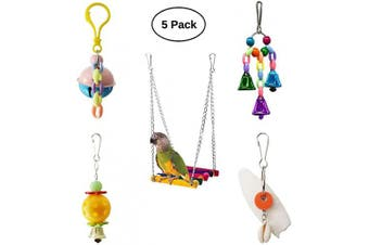 (Bird Swing with Bell) - BWOGUE 5pcs Bird Parrot Toys Hanging Bell Pet Bird Cage Hammock Swing Toy Hanging Toy for Small Parakeets Cockatiels, Conures, Macaws, Parrots, Love Birds, Finches