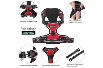 (M, Red) - BARKBAY No Pull Dog Harness Large Step in Reflective Dog Harness with Front Clip and Easy Control Handle for Walking Training Running