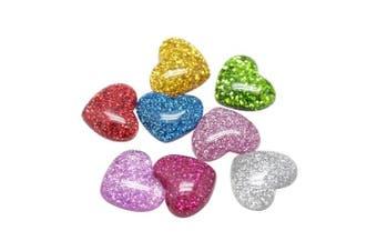 ARRICRAFT 200pcs Plastic Resin Cabochons Flatback Glittery Heart Cabochon Embellishments for Craft Scarpbooking Jewellery Making