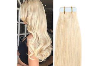 (60cm  50g, 613# Bleach Blonde) - 30cm - 60cm Tape Extensions 100% Real Remy Human Hair Extension 20 pieces 50gram Straight Skin Weft Seamless (60cm #613 Bleach Blonde)