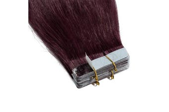 (60cm  50g, #99J Wine Red) - 30cm - 60cm Tape in Hair Extensions Human Hair 100% Real Hair Exension Remy 20 Pieces 50g Straight Skin Weft Seamless (60cm #99J Wine Red)