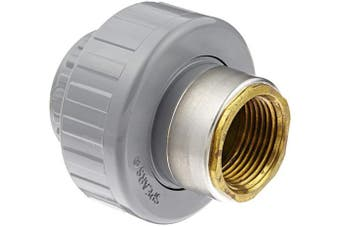 (2.5cm , 1) - Spears 859-CBR Series CPVC Pipe Fitting, Union with Viton O-Ring, Schedule 80, Grey, 2.5cm Socket x Brass NPT Female