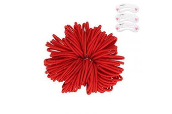 (Red) - Coobbar 100pcs Women Elastic Hair Ties Band Ropes Ring Ponytail Holder (Red)