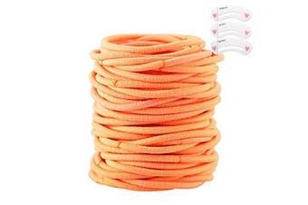 (Orange) - Coobbar 100pcs Women Elastic Hair Ties Band Ropes Ring Ponytail Holder (Orange)